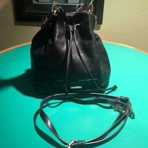 Rebecca Minkoff Black Leather Drawstring Shoulder